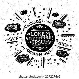 Illustration of vector vintage grunge label with sun