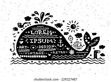 Illustration of vector vintage grunge label with whale