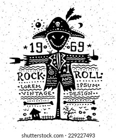 Illustration of vector vintage grunge label with scarecrow