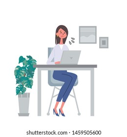 Illustration vector of woman working on laptop