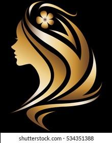 illustration vector of women silhouette golden icon, women face logo with flower on black background