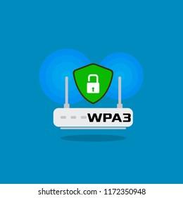 Illustration Vector: WPA3 security wireless fidelity