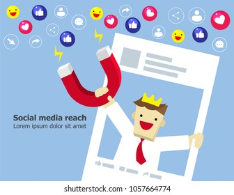 Illustration vector of young businessman who is holding magnet to call to action from audience or customer as influence marketing or advertising on social media concept