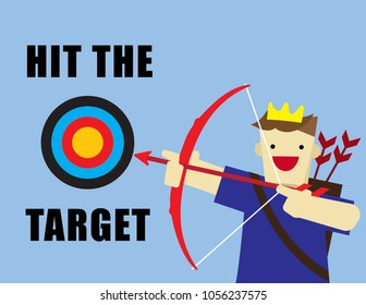 Illustration vector of young man who is holding bow and arrow focus at traget of audience or customer as influence marketing or advertising on social media concept