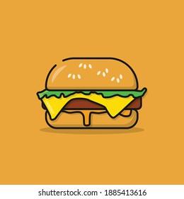 Illustration Vectro Graphics of Burger. Good for food design