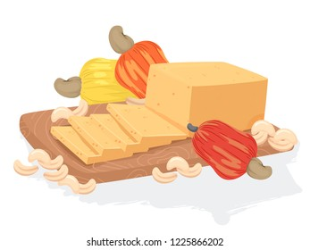 Illustration of a Vegan Cashew Cheese on a Board with Cashew Fruits and Nuts