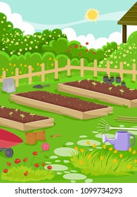 Illustration of a Vegetable Garden with Seedlings in Plots, Pots, Gardening Tools, Fence and Flower Shrubs