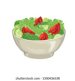 Illustration of vegetable salad in bowl Isolated on white background. Fresh green salad leaves, tomato and cucumber slices In cartoon simple flat style. Concept of healthy organic food.