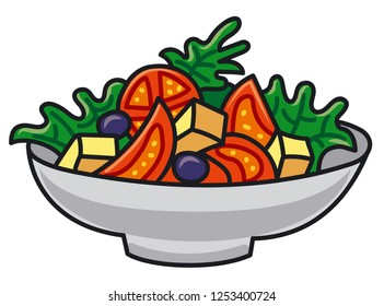 illustration of vegetable salad with cheese and olives