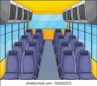 illustration of vehical seat arrangementand inside view