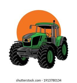 illustration vehicle tractor for farm.premium vector
