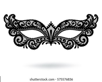 Illustration with Venetian carnival mask. Vintage lace. Silhouette image