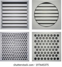 Illustration of ventilation shutters. Set of gray ventilation shutters different type. Four isolated vector illustrations on white.