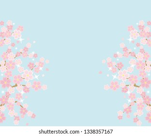 Illustration of the vernal scenery with the cherry blossoms - background is sky - rectangle banner version