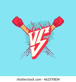 Illustration Versus Fight Emblem with fire and red punches