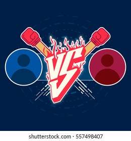 Illustration versus fight emblem with fire and red punches. Versus vector letters fight logo with circle avatars illustration. Decorative background with circles and lines art style.