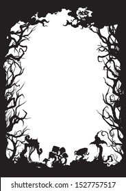 Illustration vertical frame with trees, mushrooms, moon