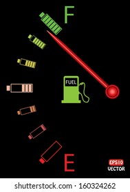 Illustration of vertical fuel gauge with colorful batteries, on black background. Abstract fuel gauge with red indicator and vibrant color batteries. Isolated, easy to edit vector illustration.
