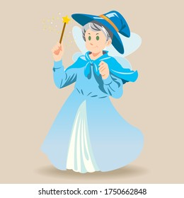 Illustration of very cute fairy godmother holding magic wand. She is wearing blue dress and magician hat.