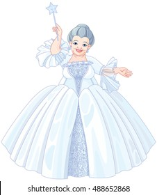 Illustration of very cute fairy godmother  holding magic wand
