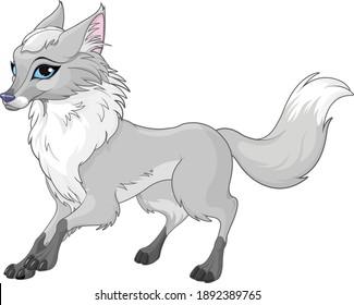 Illustration of very cute grey fox