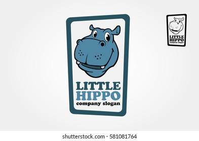 Illustration of very cute hippo head. Hippopotamus Logo Template.