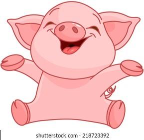 Illustration of very cute piggy