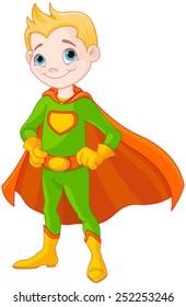 Illustration of very cute super boy