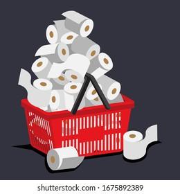 Illustration vetor of hoarding toilet paper on coronavirus panic buying case.
