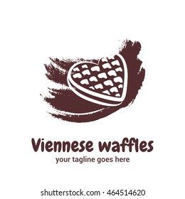 Illustration of Viennese wafer in the shape of a heart on color background coffee. Vector logo template for waffle cafe, restaurant menu or banner design.