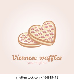 Illustration of Viennese waffles in the shape of a heart with strawberry jam and caramel topping. Vector  logo template for waffle cafe, restaurant menu or banner design.