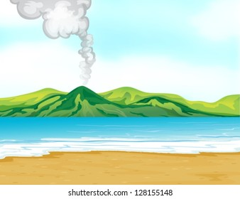 Illustration of the view of the beach near a volcano