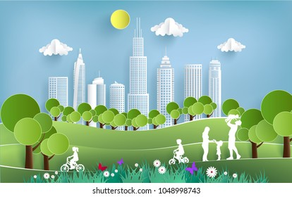 illustration with views of grass, hills, city and family fun. design paper art and crafts