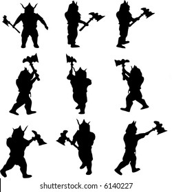 illustration with viking silhouettes collection isolated on white background