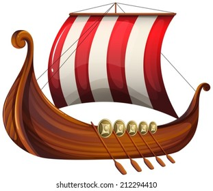 Illustration of a viking's ship on a white background