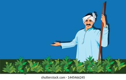 Illustration of a village farmer