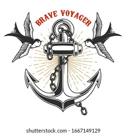 Illustration of vintage anchor with swallows in engraving style. Design element for logo, label, sign, poster, t shirt. Vector illustration