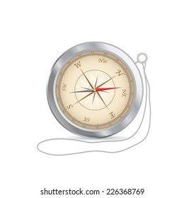 Illustration of a vintage compass isolated on a white background.