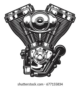 Illustration of the vintage custom motorcycle, chopper engine. Monochrome style