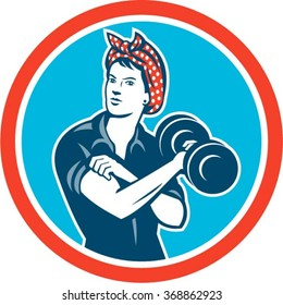 Illustration of a vintage female wearing polka dot headband working-out flexing muscle lifting dumbbell facing front set inside circle done in retro style.
