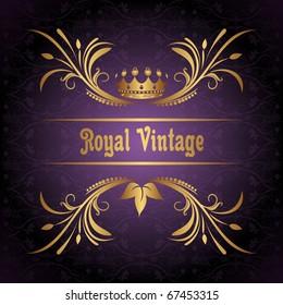 Illustration vintage frame with crown - vector