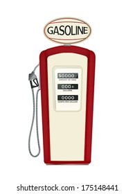 Illustration of a vintage fuel pump over white background