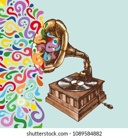Illustration of a vintage gramophone with colorful flow. Hand drawn vector retro phonograph for your nostalgic and symbolic design style.
