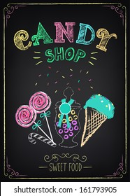 Illustration of vintage graphic element on the chalkboard. Candy Shop