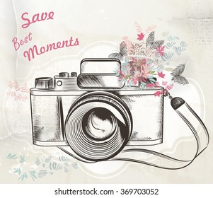 Illustration with vintage hand drawn camera flowers and butterflies save best moments