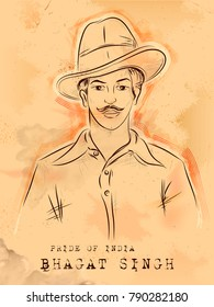 illustration of Vintage India background with Nation Hero and Freedom Fighter Bhagat Singh Pride of India