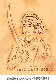 illustration of Vintage Indian background with Nation Hero and Freedom Fighter Rani Lakshmibai Pride of India