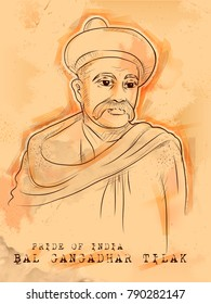 illustration of Vintage Indian background with Nation Hero and Freedom Fighter Bal Gangadhar Tilak Pride of India