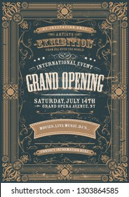 Illustration of a vintage invitation background to a grand opening exhibition with various floral patterns, frames, banners, grunge texture and retro design