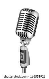 illustration of Vintage Microphone on isolated white background